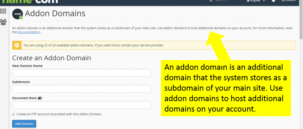 addon domain page - wordpress website and blog