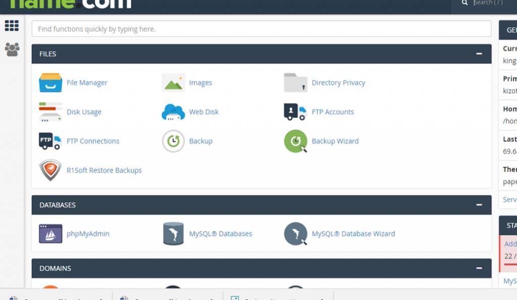 control panel wordpress website, blog