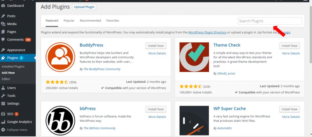 search plugins wordpress installation