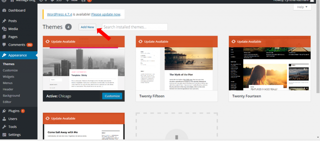 themes page interface - Guide to WordPress Website, Blog Design