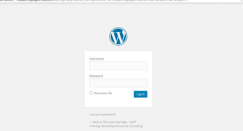 wordpress login page - wordpress installation
